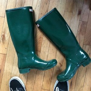 Hunter green boots with shine